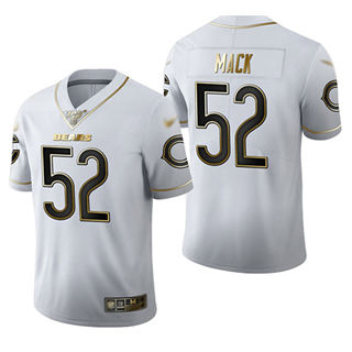 Men's Bears #52 Khalil Mack White Stitched Football Limited Golden Edition Jersey