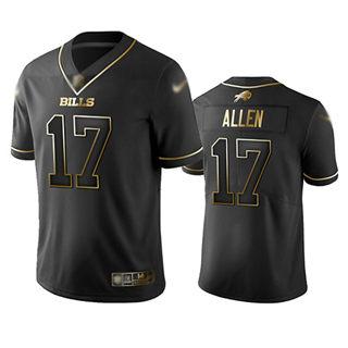 Men's Bills #17 Josh Allen Black Stitched Football Limited Golden Edition Jersey