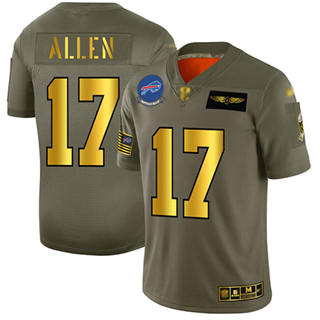 Men's Bills #17 Josh Allen Camo Gold Stitched Football Limited 2019 Salute To Service Jersey