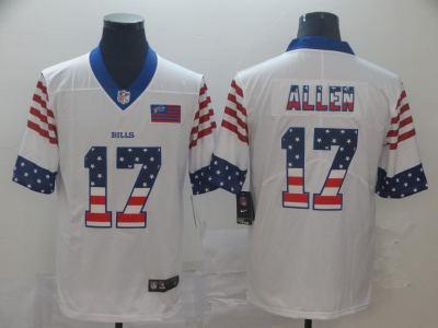 Men's Bills #17 Josh Allen White Stitched Football Limited Independence Day Jersey