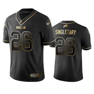 Men's Bills #26 Devin Singletary Black Stitched Football Limited Golden Edition Jersey
