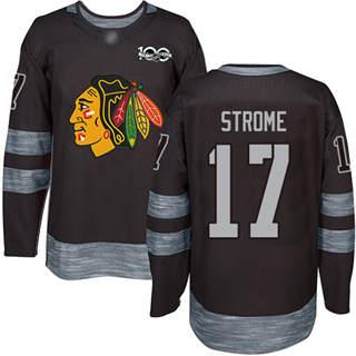 Men's Blackhawks #17 Dylan Strome Black 1917-2017 100th Anniversary Stitched Hockey Jersey