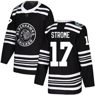 Men's Blackhawks #17 Dylan Strome Black  2019 Winter Classic Stitched Hockey Jersey