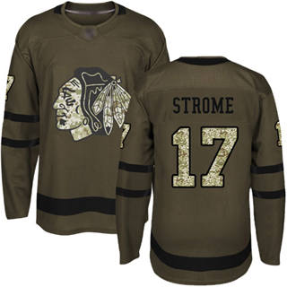 Men's Blackhawks #17 Dylan Strome Green Salute to Service Stitched Hockey Jersey