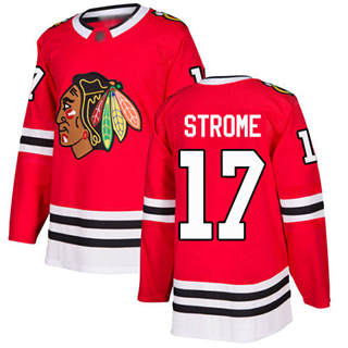Men's Blackhawks #17 Dylan Strome Red Home  Stitched Hockey Jersey
