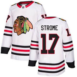 Men's Blackhawks #17 Dylan Strome White Road  Stitched Hockey Jersey