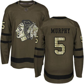 Men's Blackhawks #5 Connor Murphy Green Salute to Service Stitched Hockey Jersey