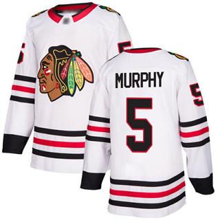 Men's Blackhawks #5 Connor Murphy White Road  Stitched Hockey Jersey