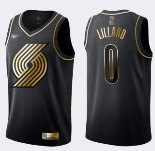 Men's Blazers #0 Damian Lillard Black Gold Basketball Swingman Limited Edition Jersey