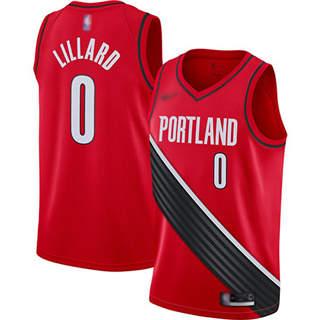 Men's Blazers #0 Damian Lillard Red Basketball Swingman Statement Edition 2019-2020 Jersey