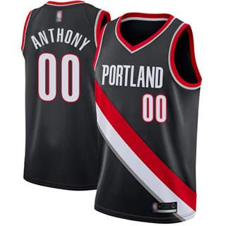 Men's Blazers #00 Carmelo Anthony Black Basketball Swingman Icon Edition Jersey