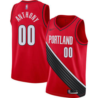 Men's Blazers #00 Carmelo Anthony Red Basketball Swingman Statement Edition 2019-2020 Jersey