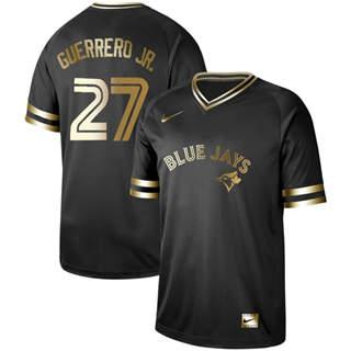 Men's Blue Jays #27 Vladimir Guerrero Jr. Black Gold  Stitched Baseball Jersey