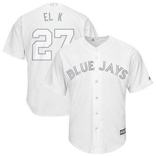 Men's Blue Jays #27 Vladimir Guerrero Jr. White El K Players Weekend Cool Base Stitched Baseball Jersey