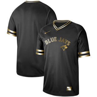 Men's Blue Jays Blank Black Gold  Stitched Baseball Jersey