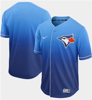 Men's Blue Jays Blank Royal Fade  Stitched Baseball Jersey