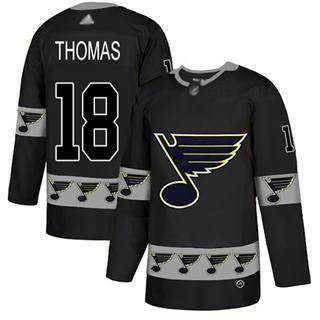 Men's Blues #18 Robert Thomas Black  Team Logo Fashion Stitched Hockey Jersey