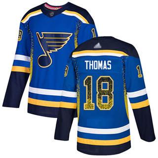 Men's Blues #18 Robert Thomas Blue Home  Drift Fashion Stitched Hockey Jersey