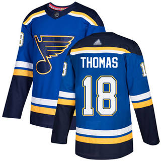 Men's Blues #18 Robert Thomas Blue Home  Stitched Hockey Jersey