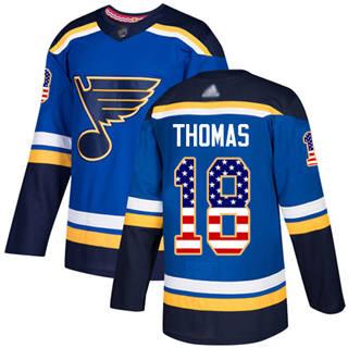 Men's Blues #18 Robert Thomas Blue Home  USA Flag Stitched Hockey Jersey