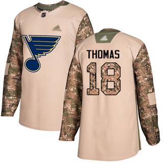 Men's Blues #18 Robert Thomas Camo  2017 Veterans Day Stitched Hockey Jersey