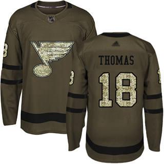 Men's Blues #18 Robert Thomas Green Salute to Service Stitched Hockey Jersey