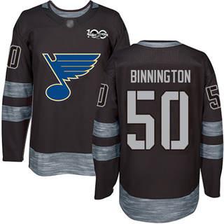 Men's Blues #50 Jordan Binnington Black 1917-2017 100th Anniversary Stitched Hockey Jersey
