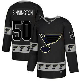 Men's Blues #50 Jordan Binnington Black  Team Logo Fashion Stitched Hockey Jersey