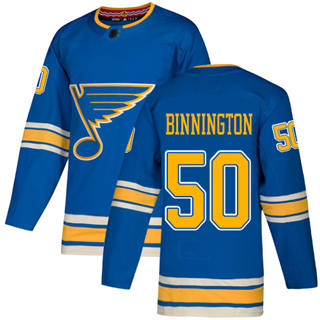 Men's Blues #50 Jordan Binnington Blue Alternate Authentic Stitched Hockey Jersey