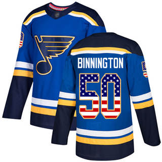 Men's Blues #50 Jordan Binnington Blue Home  USA Flag Stitched Hockey Jersey