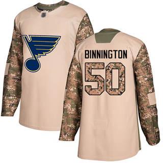 Men's Blues #50 Jordan Binnington Camo  2017 Veterans Day Stitched Hockey Jersey