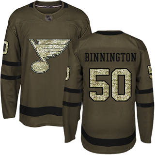 Men's Blues #50 Jordan Binnington Green Salute to Service Stitched Hockey Jersey