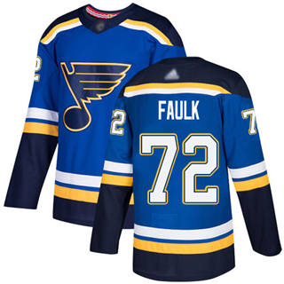 Men's Blues #72 Justin Faulk Blue Home Authentic Stitched Hockey Jersey