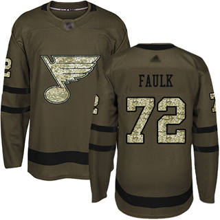 Men's Blues #72 Justin Faulk Green Salute to Service Stitched Hockey Jersey