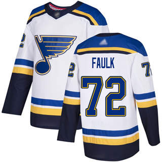 Men's Blues #72 Justin Faulk White Road Authentic Stitched Hockey Jersey