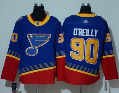 Men's Blues #90 Ryan O'Reilly Blue Red Authentic 2019 Heritage Stitched Hockey Jersey