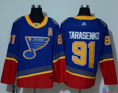 Men's Blues #91 Vladimir Tarasenko Blue Red Authentic 2019 Heritage Stitched Hockey Jersey