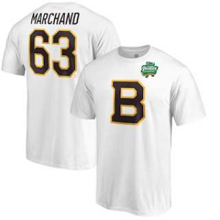 Men's Boston Bruins #63 Brad Marchand White 2019 Winter Classic Stack Name & Number T-Shirt