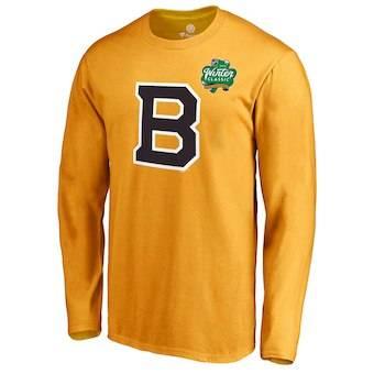 Men's Boston Bruins Gold 2019 Hockey Winter Classic Primary Logo Long Sleeve T-Shirt