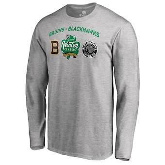 Men's Boston Bruins vs. Chicago Blackhawks Gray 2019 Hockey Winter Classic Matchup Long Sleeve T-Shirt