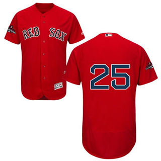 Men's Boston Red Sox #25 Steve Pearce Red Flexbase  Collection 2018 World Series Champions Stitched Baseball Jersey