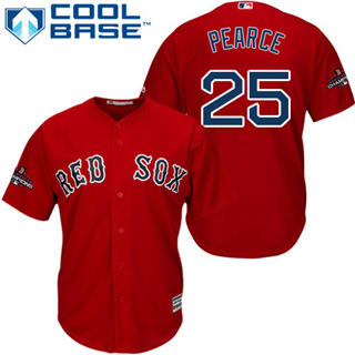 Men's Boston Red Sox #25 Steve Pearce Red New Cool Base 2018 World Series Champions Stitched Baseball Jersey