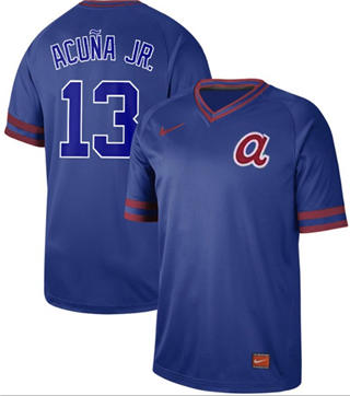 Men's Braves #13 Ronald Acuna Jr. Royal  Cooperstown Collection Stitched Baseball Jersey