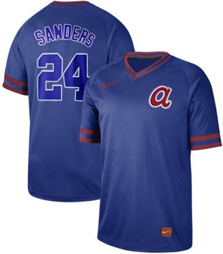 Men's Braves #24 Deion Sanders Royal  Cooperstown Collection Stitched Baseball Jersey