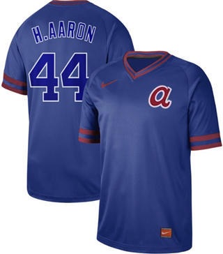 Men's Braves #44 Hank Aaron Royal  Cooperstown Collection Stitched Baseball Jersey