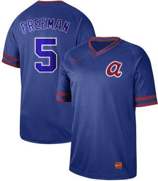 Men's Braves #5 Freddie Freeman Royal  Cooperstown Collection Stitched Baseball Jersey