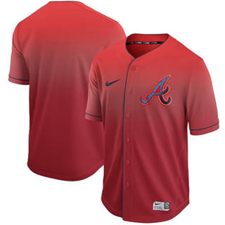 Men's Braves Blank Red Fade  Stitched Baseball Jersey