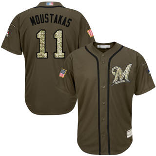 Men's Brewers #11 Mike Moustakas Green Salute to Service Stitched Baseball Jersey