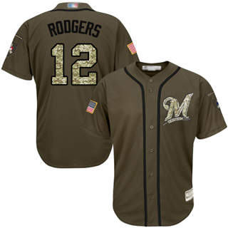 Men's Brewers #12 Aaron Rodgers Green Salute to Service Stitched Baseball Jersey