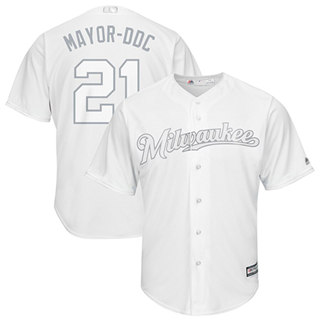 Men's Brewers #21 Travis Shaw White Mayor-DDC Players Weekend Cool Base Stitched Baseball Jersey